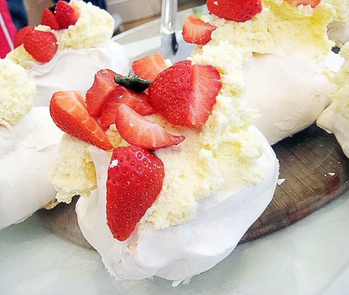 Meringues with strawberries and cream at the Chelsea Physic Garden