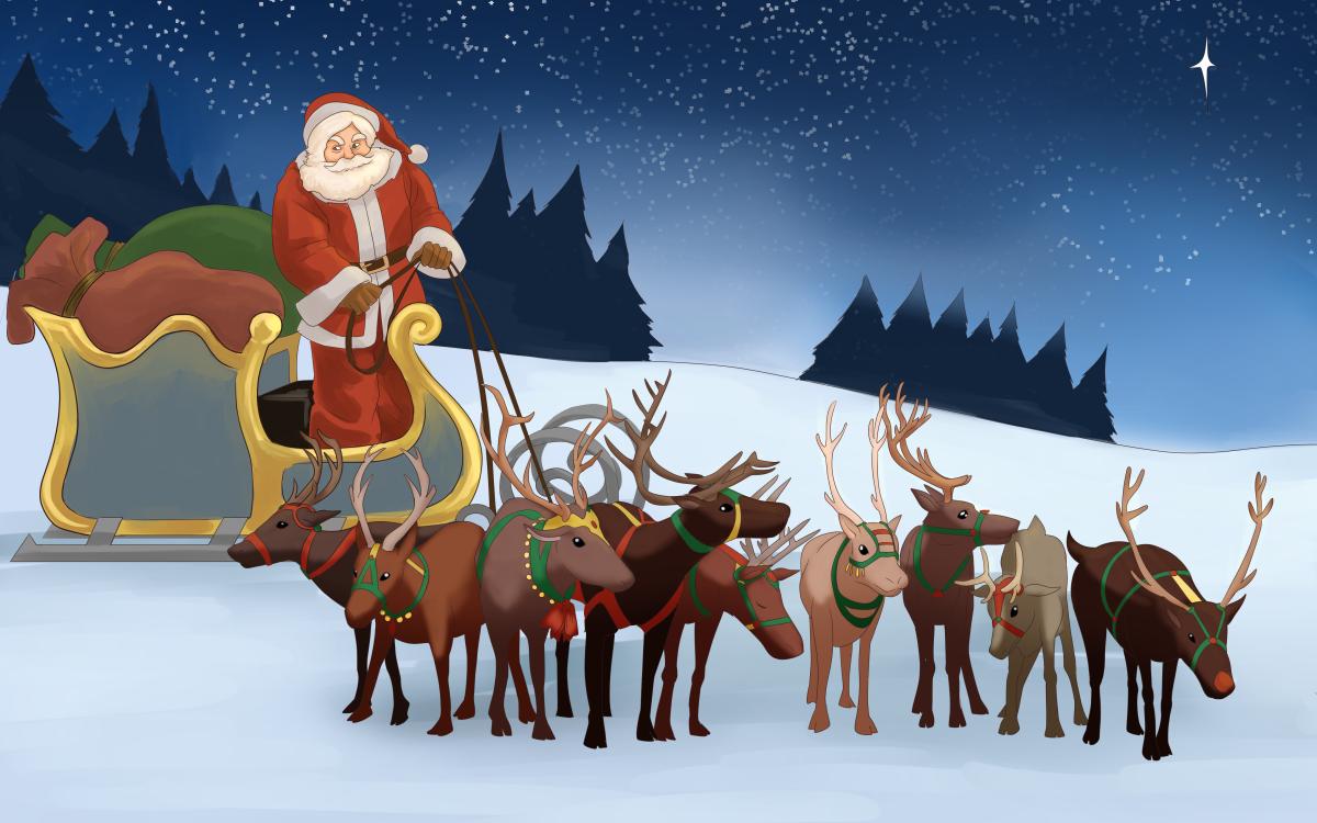 Santa and his reindeer.