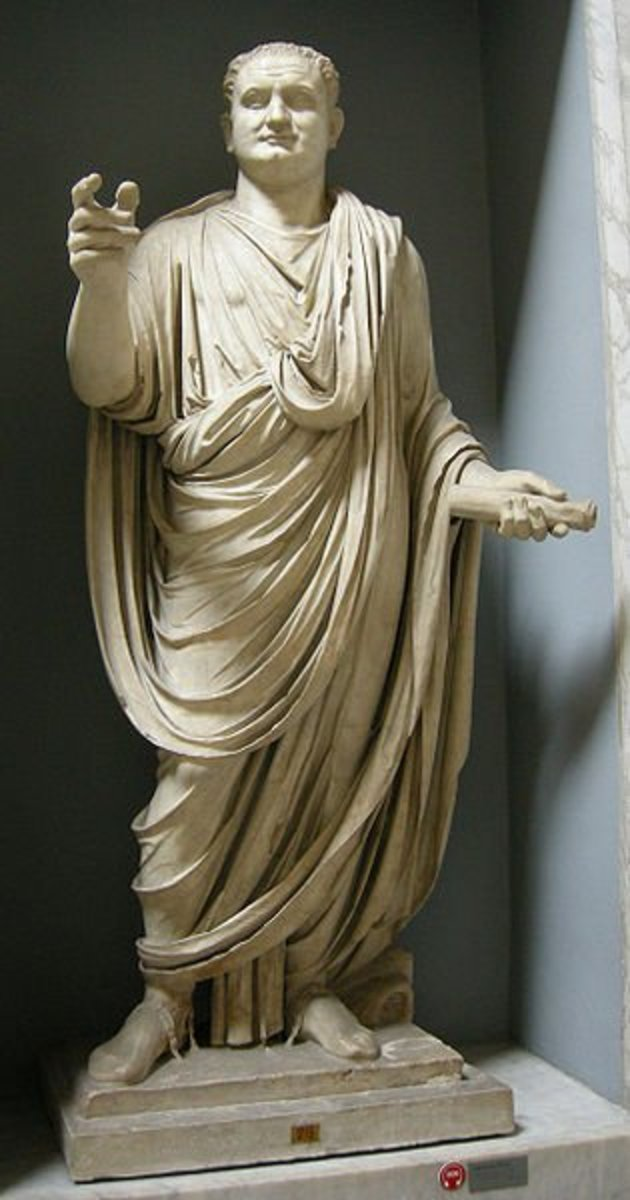 A Roman aristocrat. (Actually, it's Titus, emperor and son of the wonderfully down-to-earth emperor Vespasian, but he's dressed as a typical Roman noble in a senatorial toga.)