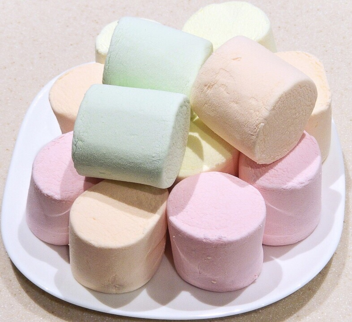 Marshmallows of different colors and flavors
