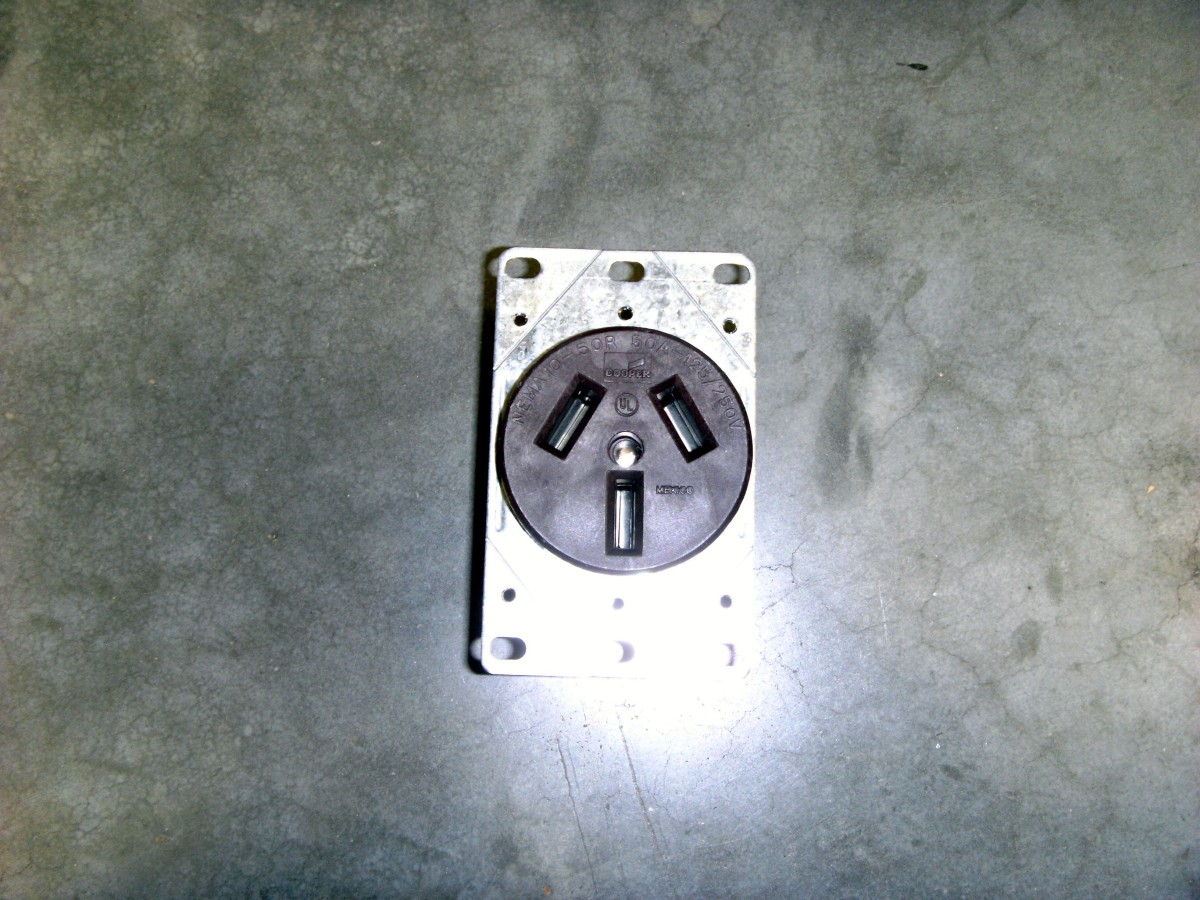 Three prong receptacle.  A flush mount, it could also be a surface mount style as the 4 prong receptacle shown is.