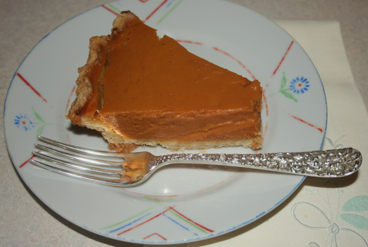 Pumpkin pie filling (20 oz.), 2 eggs & 5 oz. condensed milk baked in a vinegar crust. (Please pardon the messy fluting!)