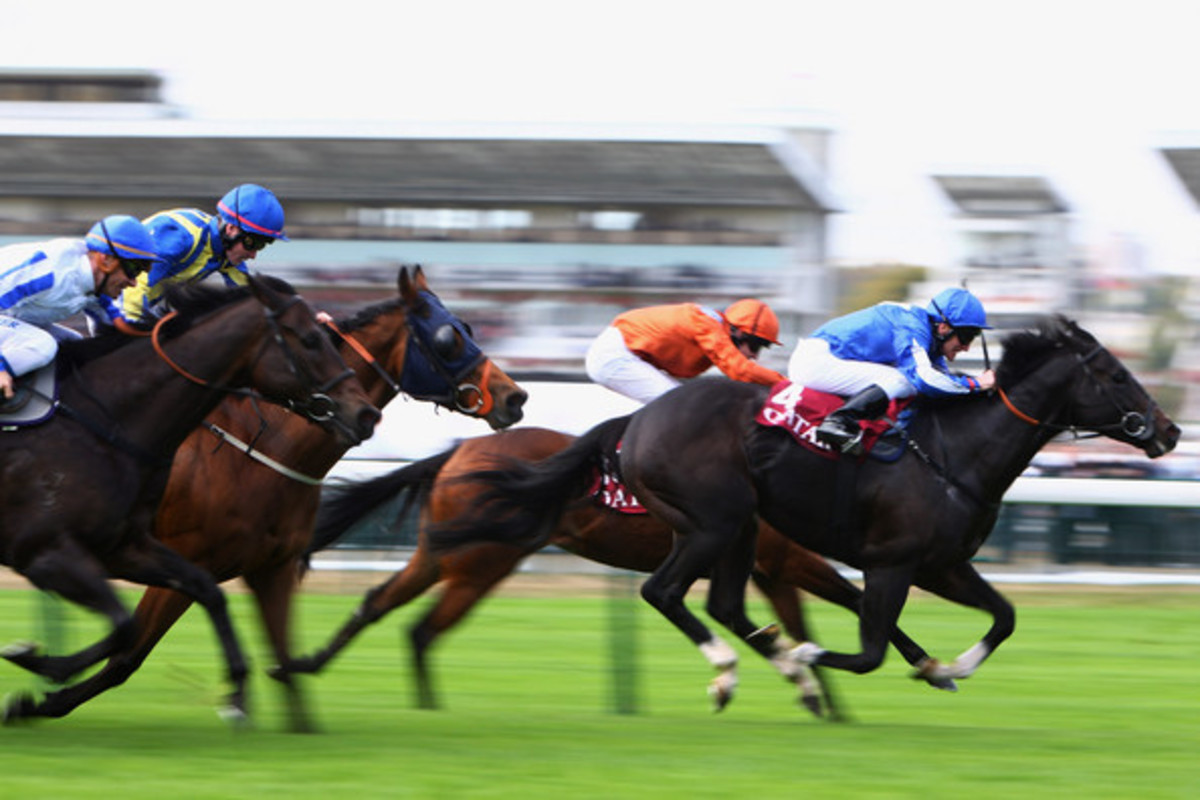 Pushing for home in the Arc de Triomphe at Longchamp racecourse in Paris