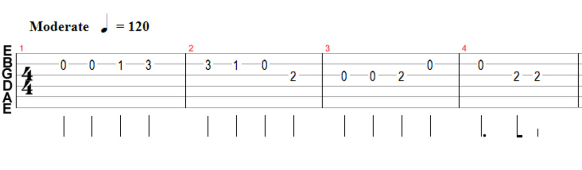 Guitar tabs with note durations included