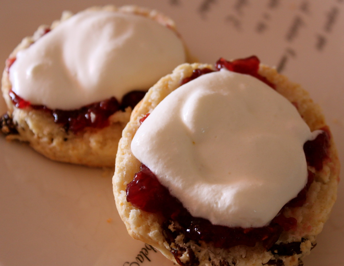 Fruit scones with jam and cream.