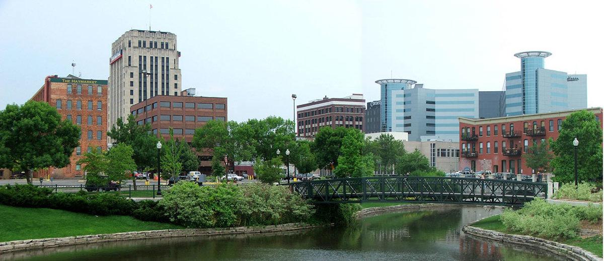 Looking toward downtown Kalamazoo from Arcadia Festival Park