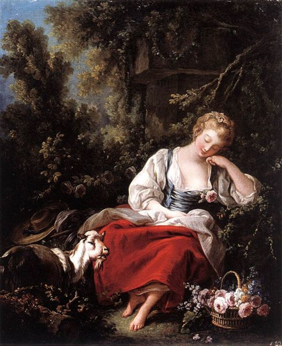 Dreaming Shepherdess, Oil on canvas by François Boucher, 1763, Public Domain, Source: Web Gallery of Art #2944 via Wikimedia Commons.