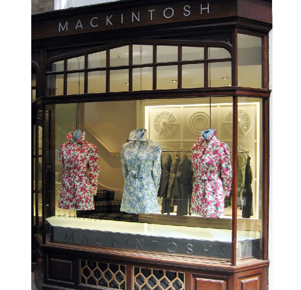 A shop display for the Mackintosh brand in upmarket Burlington Arcade, London.