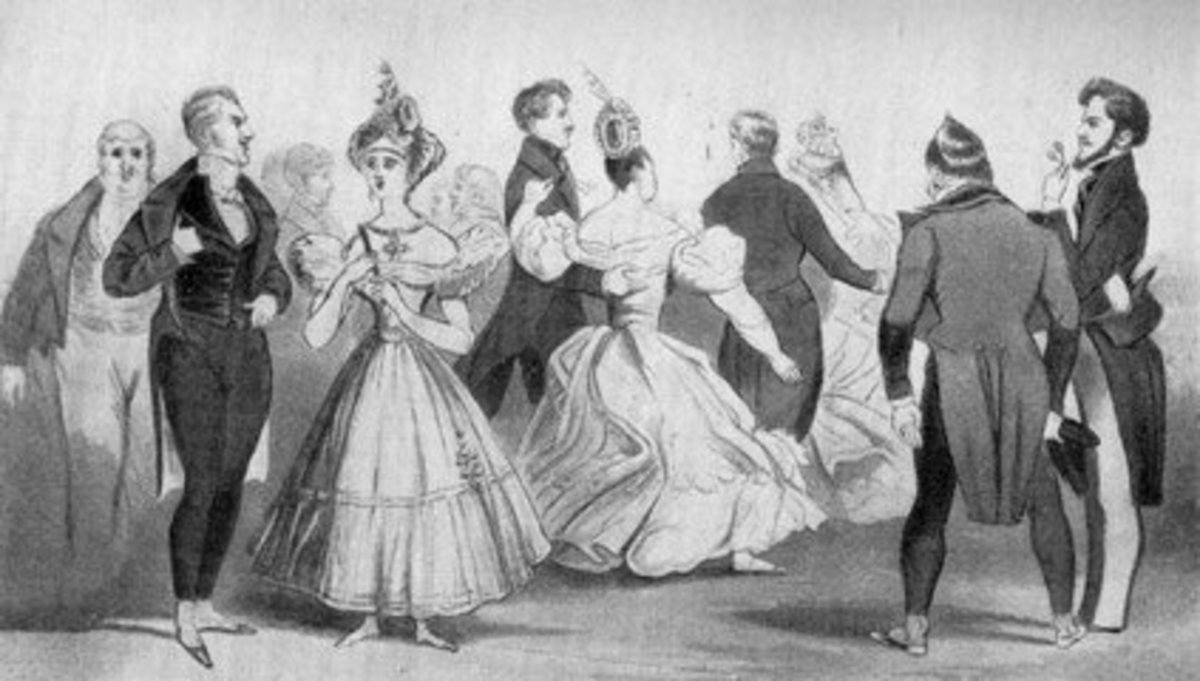 Beau Brummel, pictured at the far left, LOVED simplicity in dress- though was also very fastidious about clothing quality and physical cleanliness. He did much to influence style during this period.
