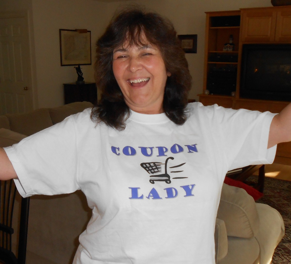 "I had this ""Coupon Lady"" shirt specially made for just for fun when I go grocery shopping. It does attract a lot of attention!"