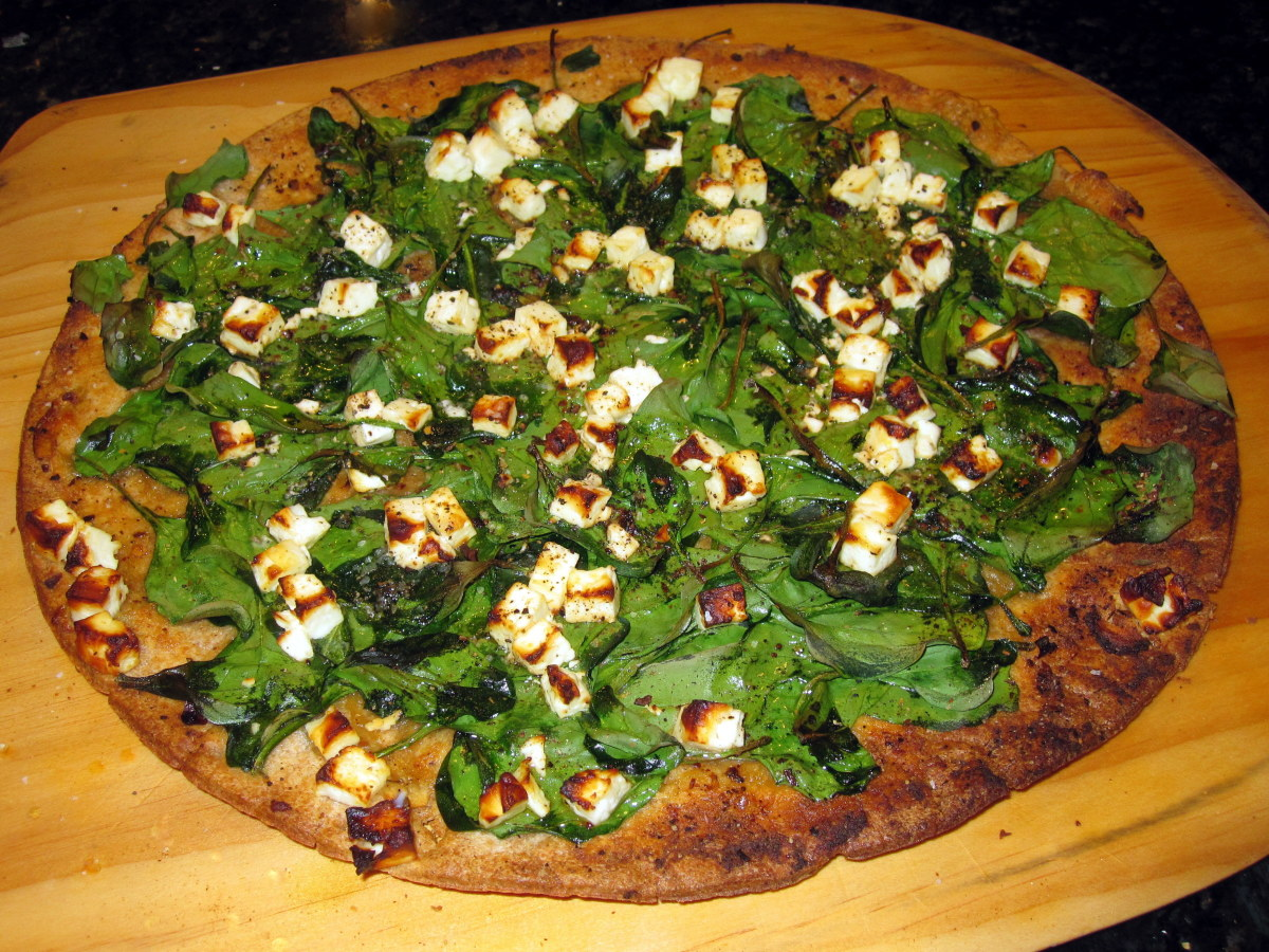 Spinach and feta pizza (recipe below)