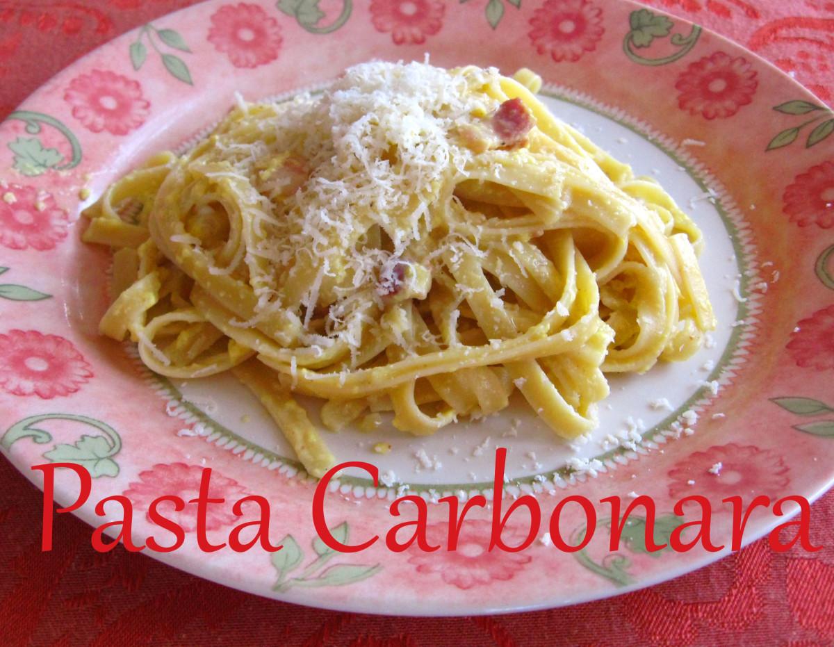 Pasta alla carbonara is a quick and easy recipe.