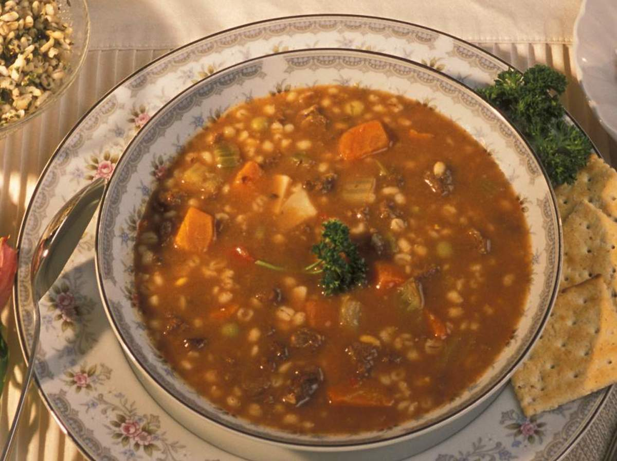 Hot and hearty vegetable beef barley soup.