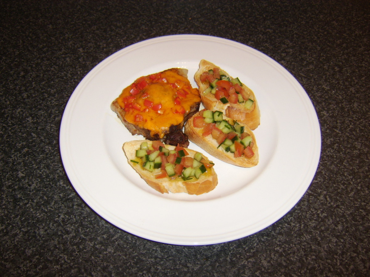 Cheese and pepper crusted pork chop with bruschetta is one of the recipes which can be found on this page