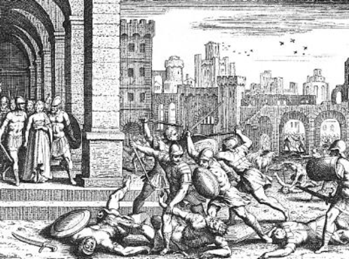 """""""Dinah's Brothers Avenge Her Honor"""" by Matthaeus Merian the Elder (1625-1630)"""