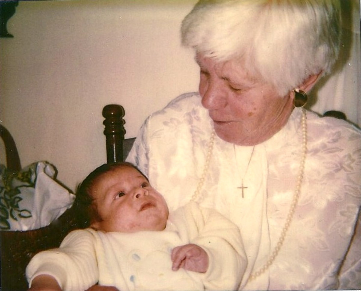 My mother with her first great grandchild, Matthew. 1988.