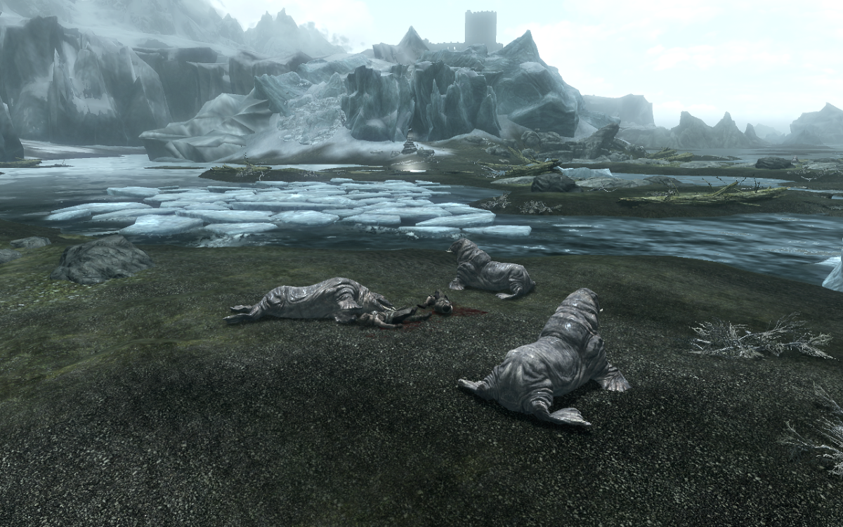 The fallen hunters whom hold the Treasure Map among the Horkers who ended them. Bleackcoast Cave and the Winterhold College can be seen in the background.