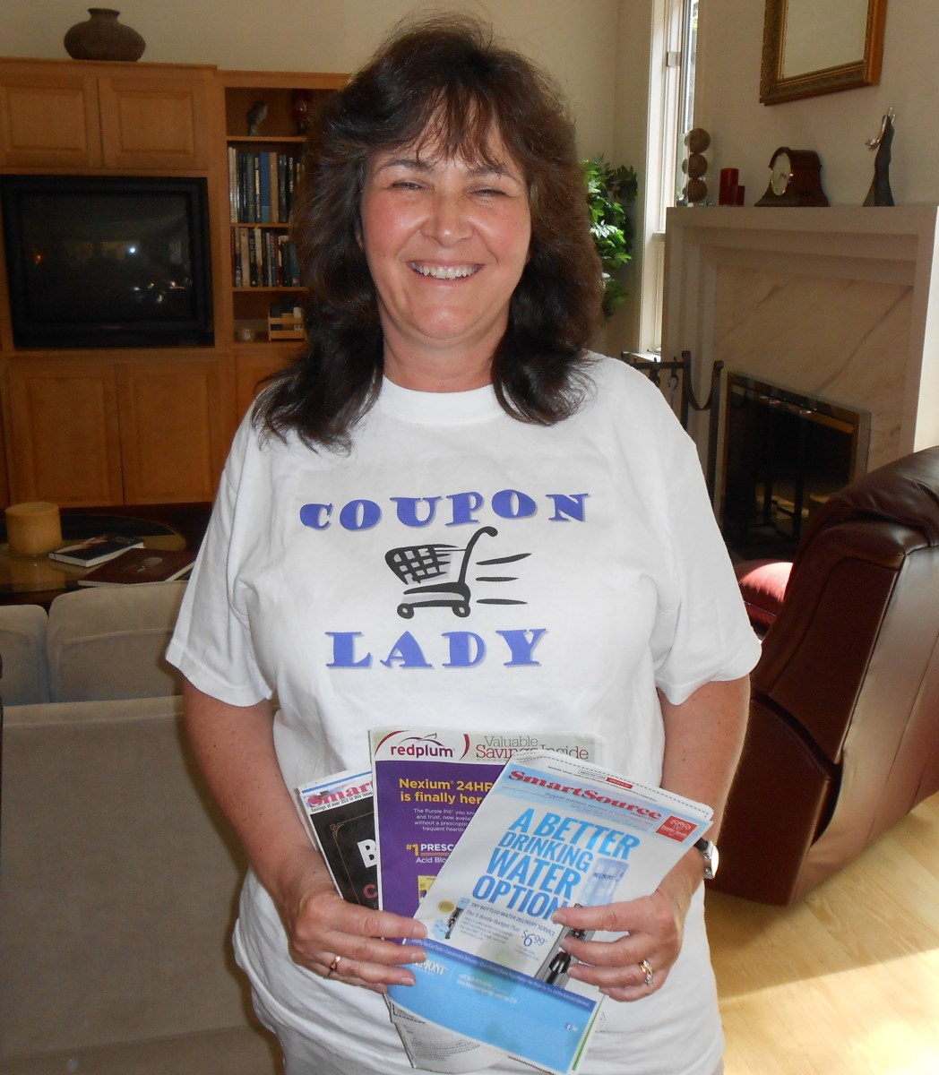 "Here I am in my ""Coupon Lady T shirt which I wear with small groups of classes just for fun. I had this made special."