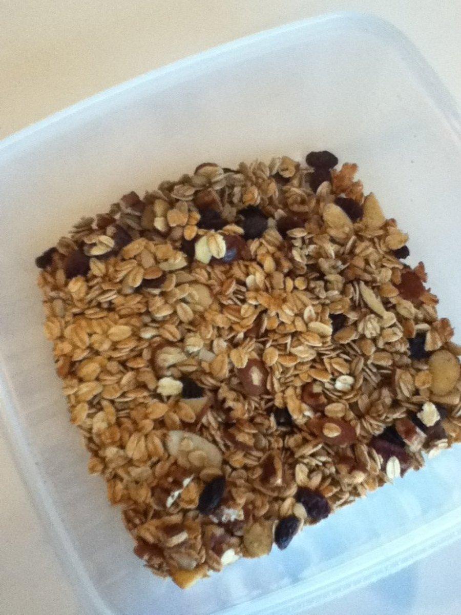 A tub of homemade granola.