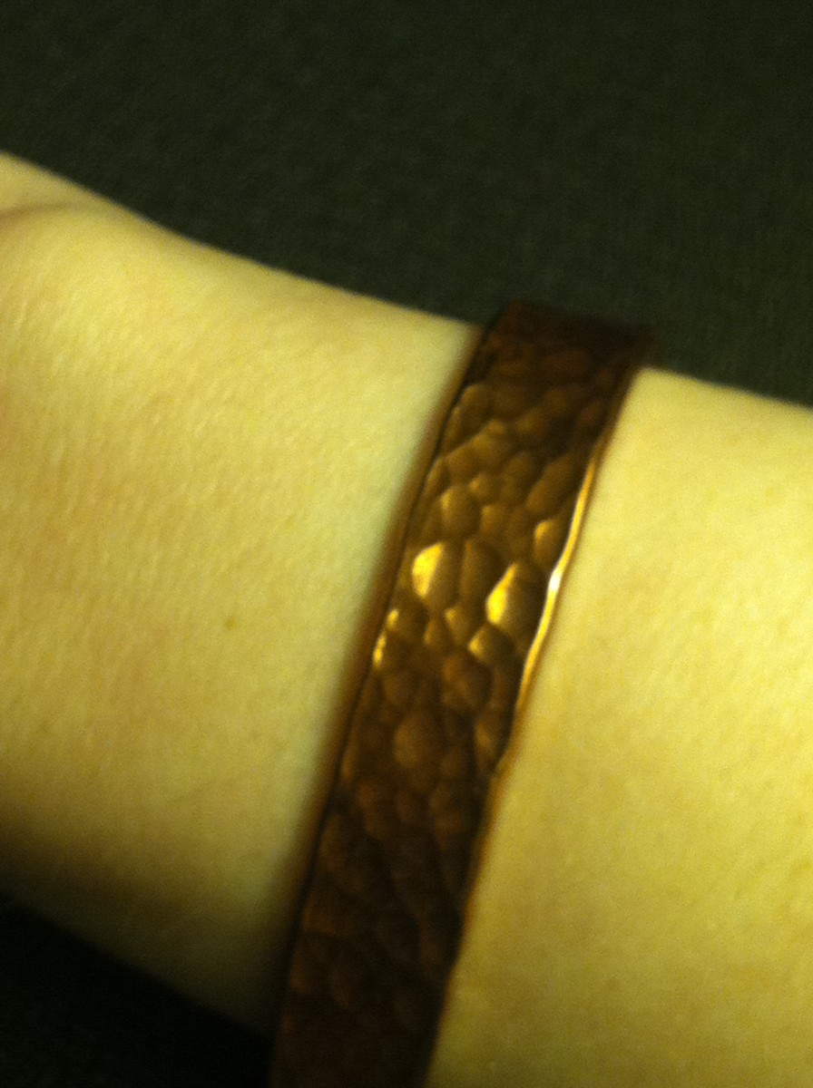 Pure copper bracelet, lined with clear nail polish to prevent oxidation (tarnish) from turning my wrist area green.