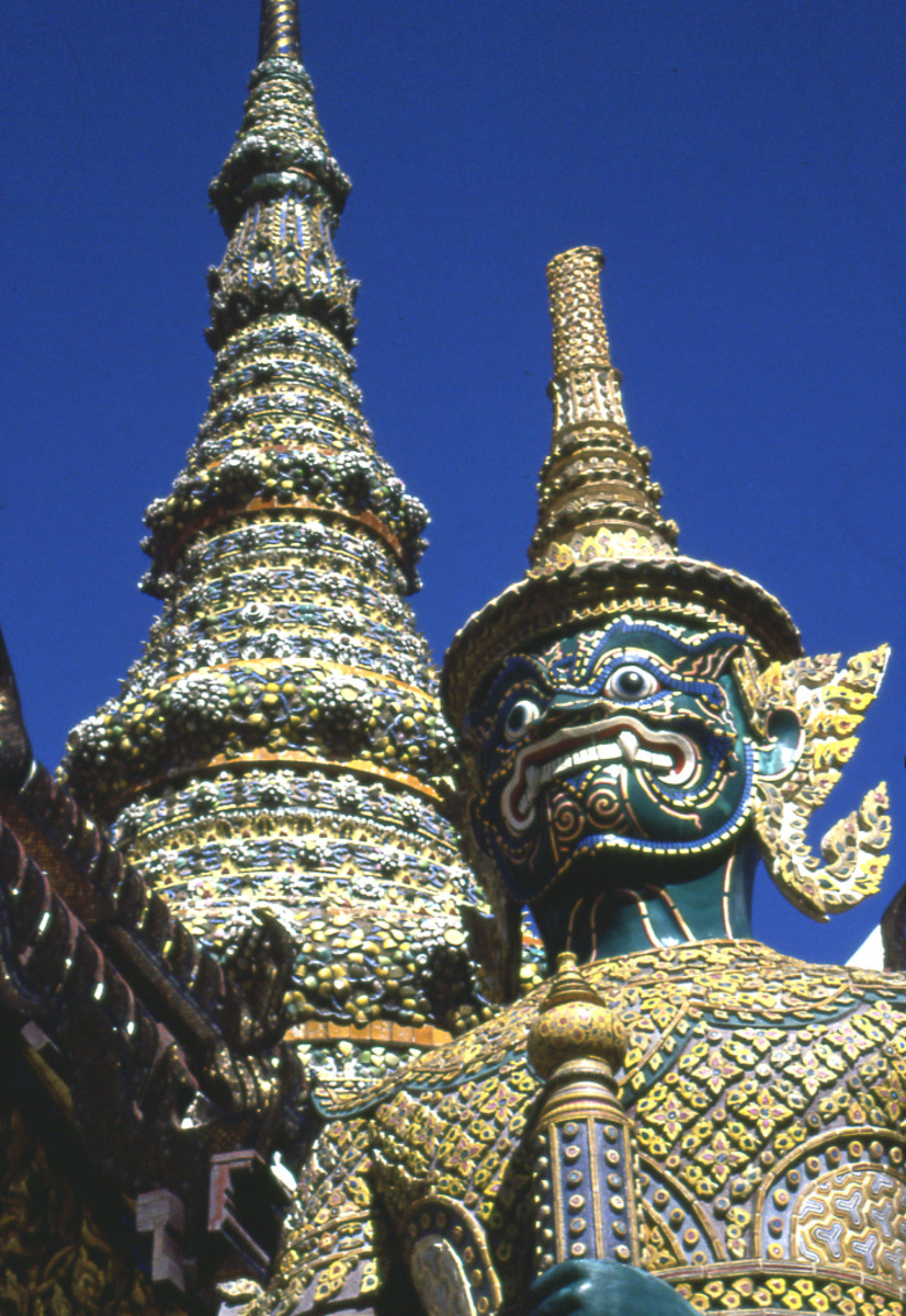 Giant temple guardian at Wat Phra Kaew (Temple of the Emerald Buddha), Bangkok