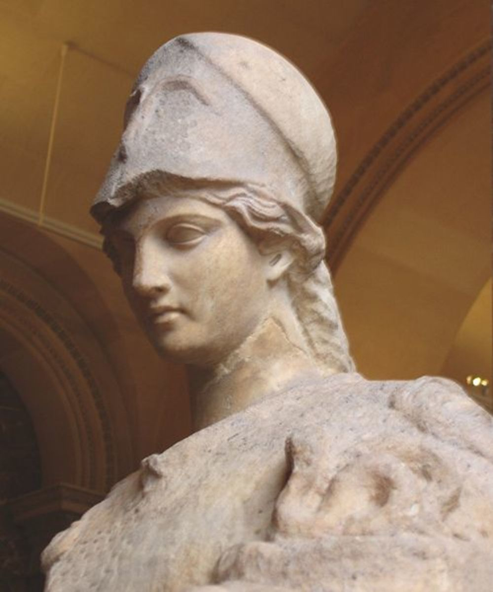 Athene in her Distinctive Helmet