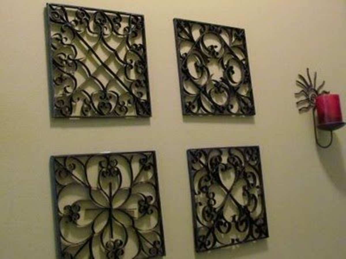 Faux Metal Wall Art  from Toilet Paper Rolls