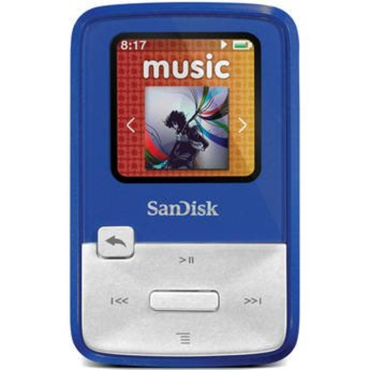 The SanDisk Sansa Clip Zip MP3 player offers 4 GB of storage space and features a built-in FM radio receiver.