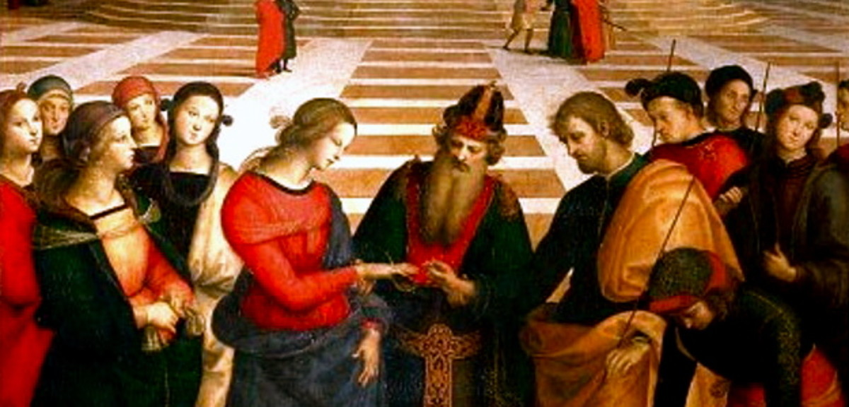 The Marriage of the Virgin by Raphael, a great example of linear perspective