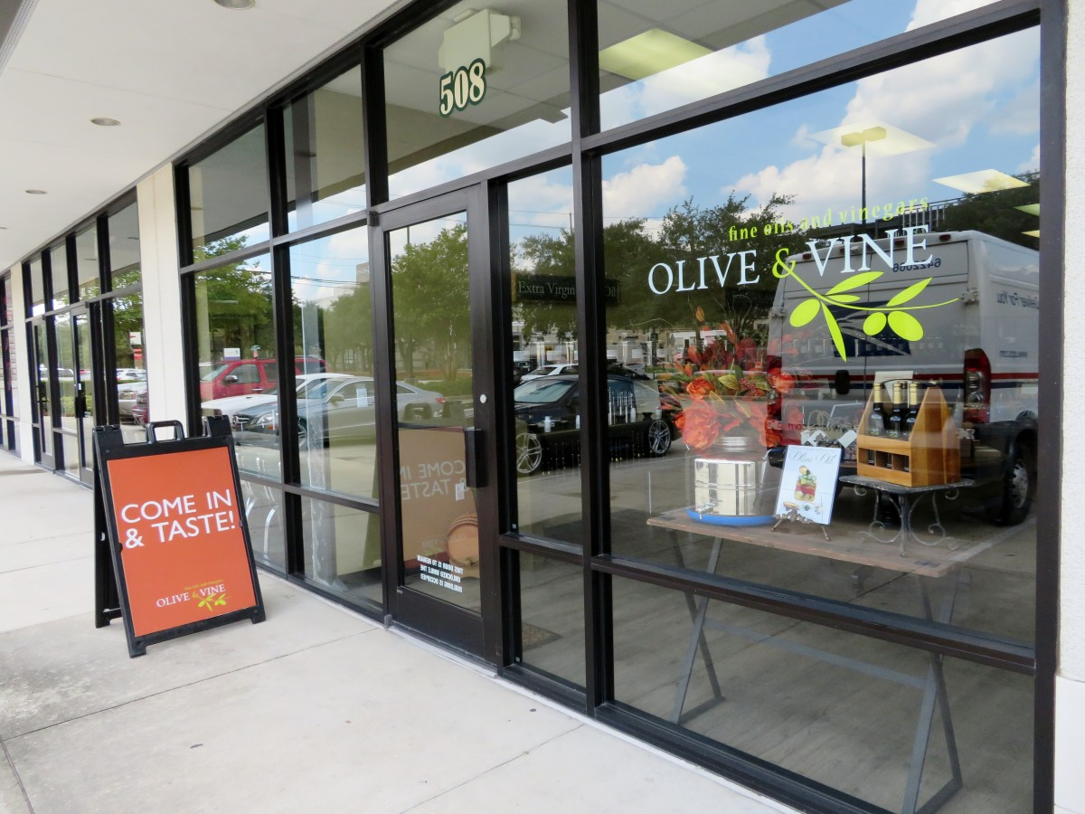 Exterior of  Olive & Vine store in the Houston Heights