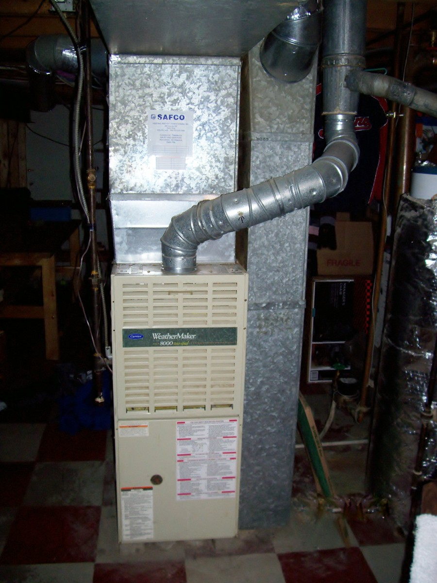 Residential Furnace Example: 80% efficient forced air gas furnace photo.