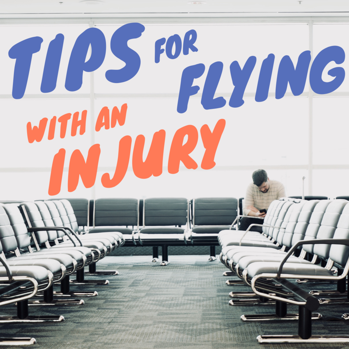 Navigating an airport is challenging for a traveler with a temporary injury.