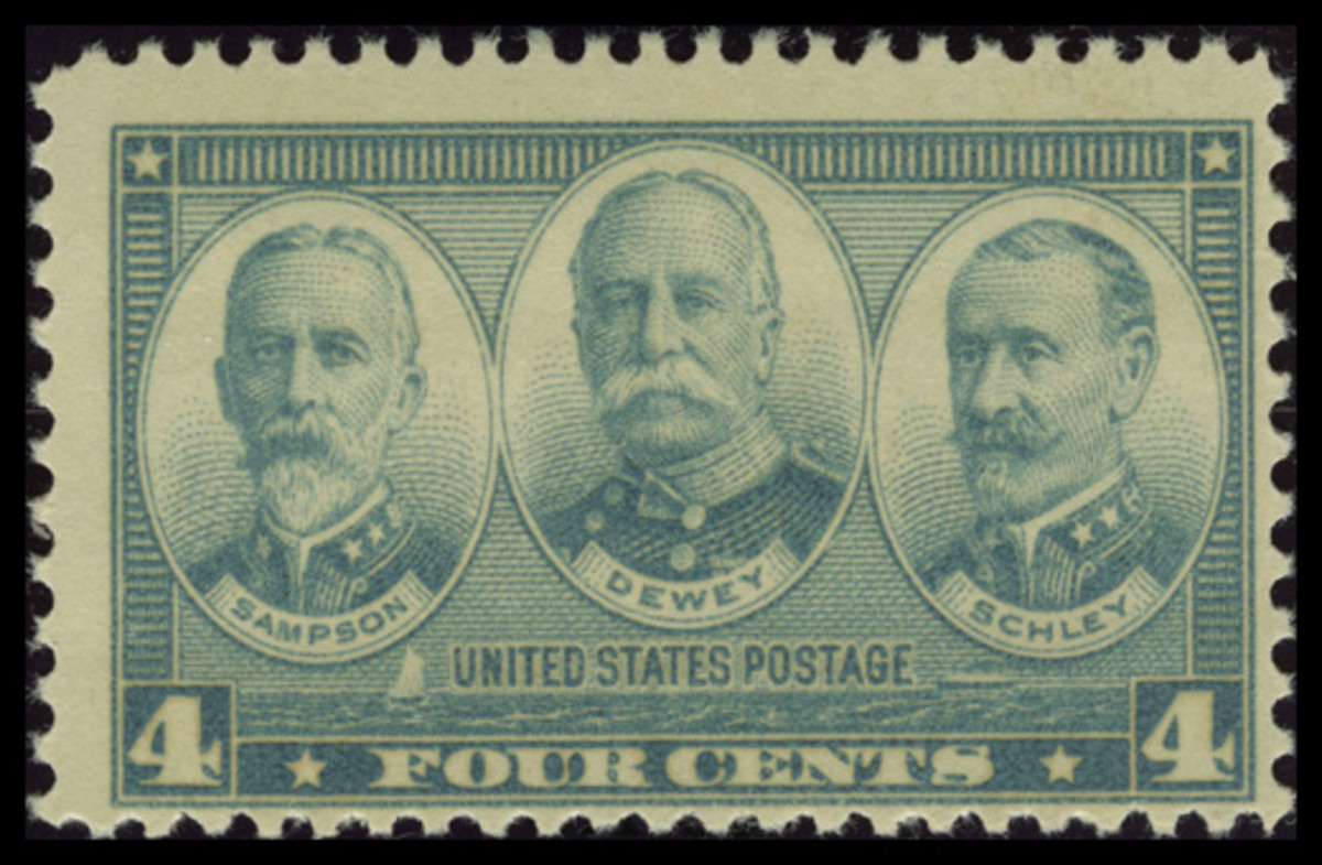 1937 Four-Cent Navy Stamp: William Sampson, George Dewey, and Winfield Scott Schley