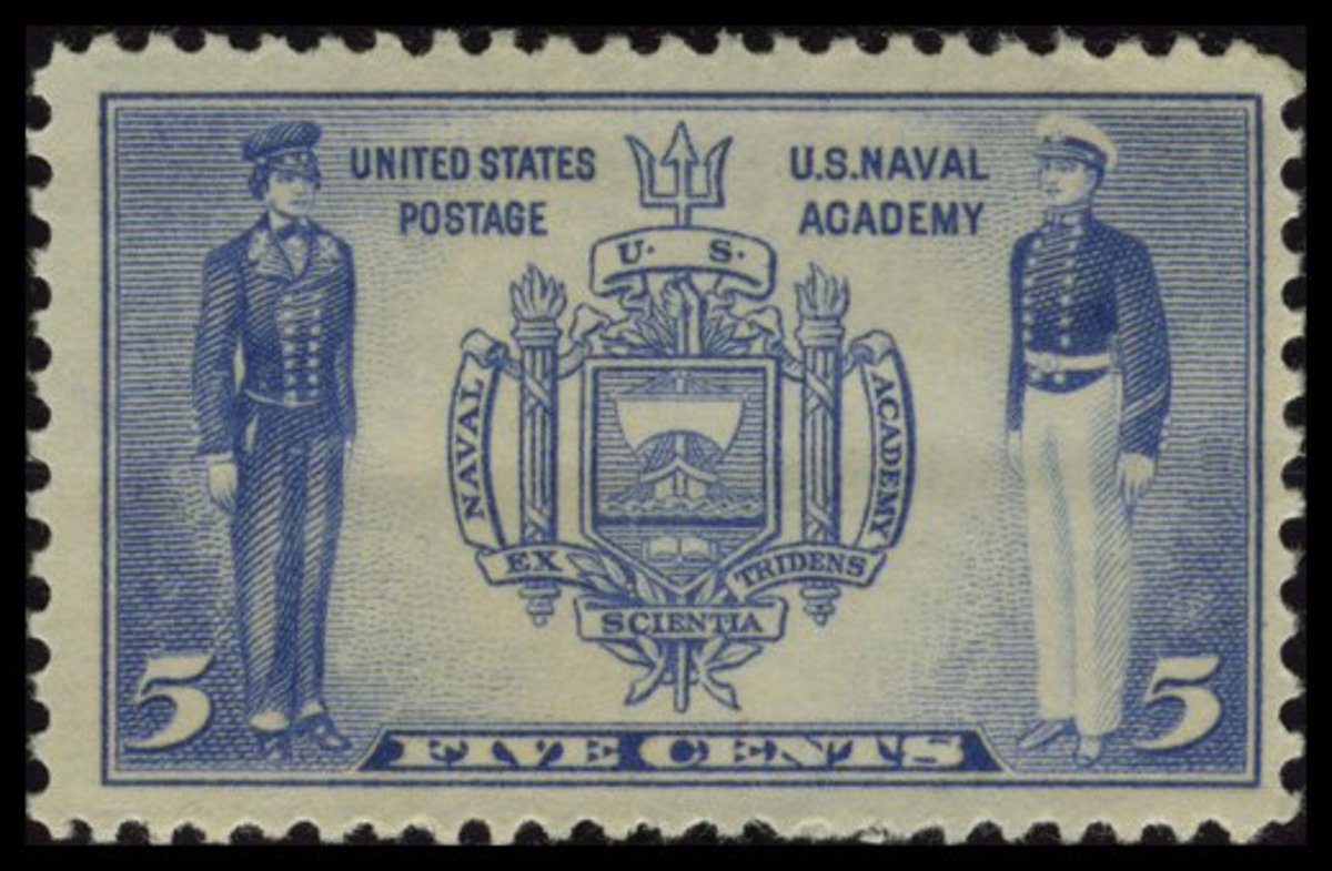 1937 Five Cent Navy Stamp: United States Naval Academy at Annapolis
