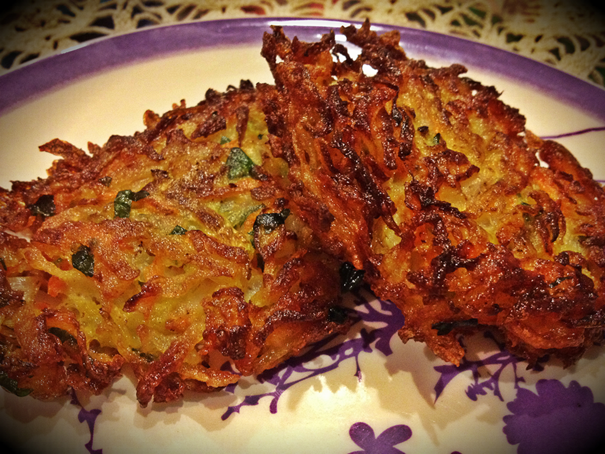 Garden veggie and potato latkes recipe.