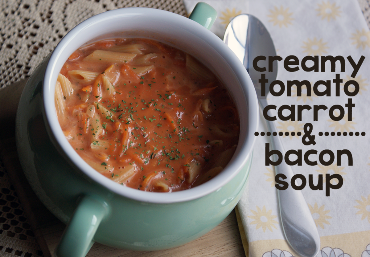 Recipe for Creamy Tomato, Carrot, and Bacon Soup