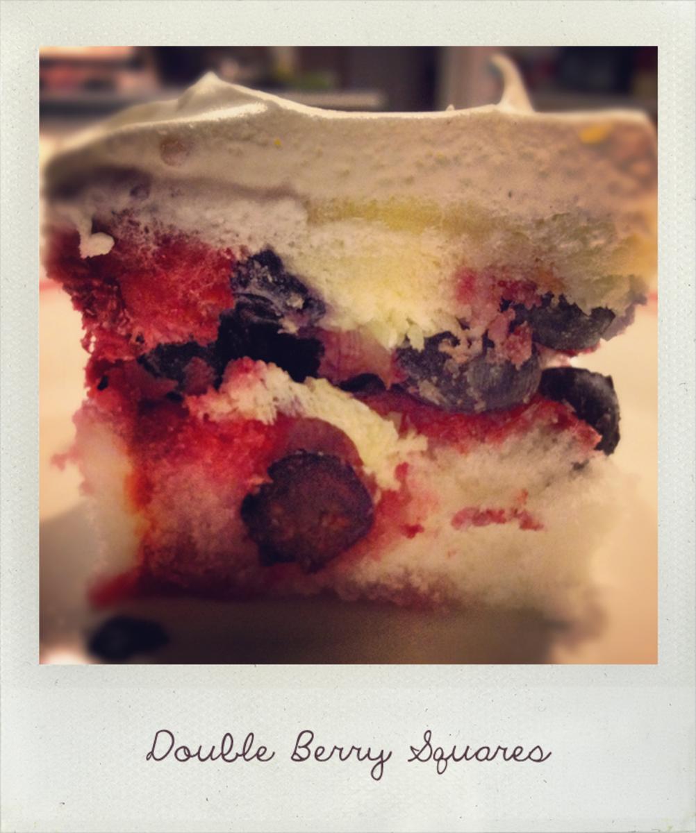 No-Bake Double Berry Cake Squares