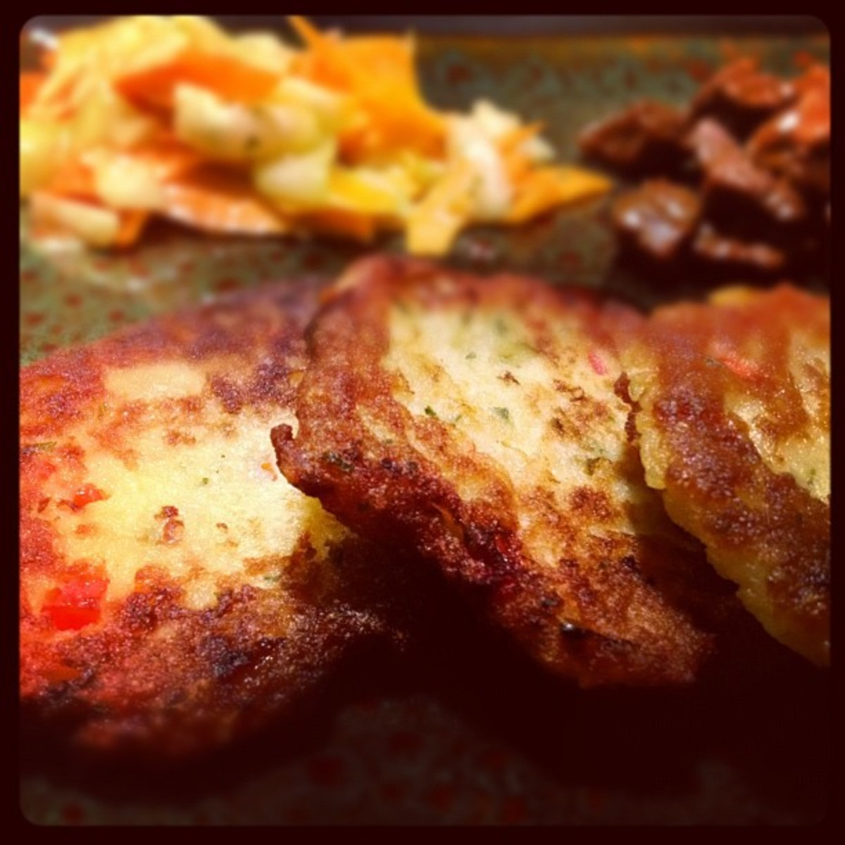 Potato Pancakes with Onion and Red Bell Pepper