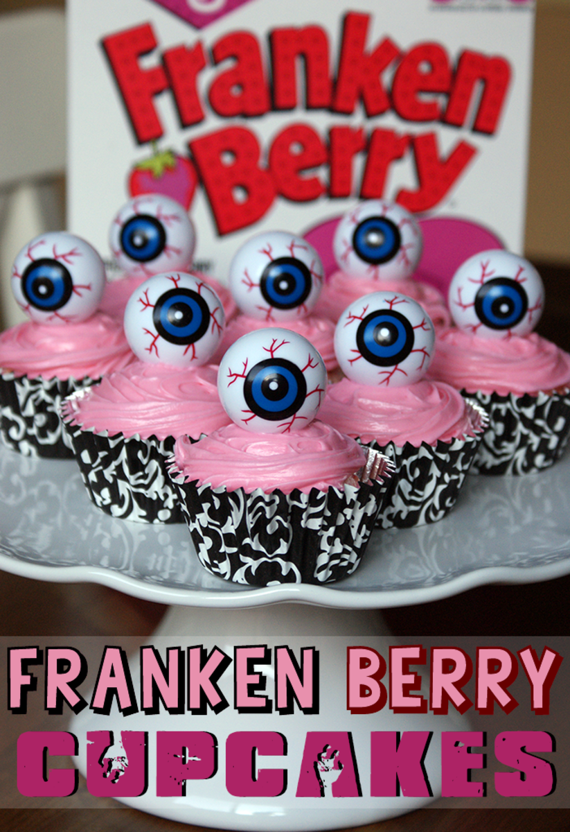 Cute Halloween Recipes - Franken Berry Strawberry Monster Cupcakes