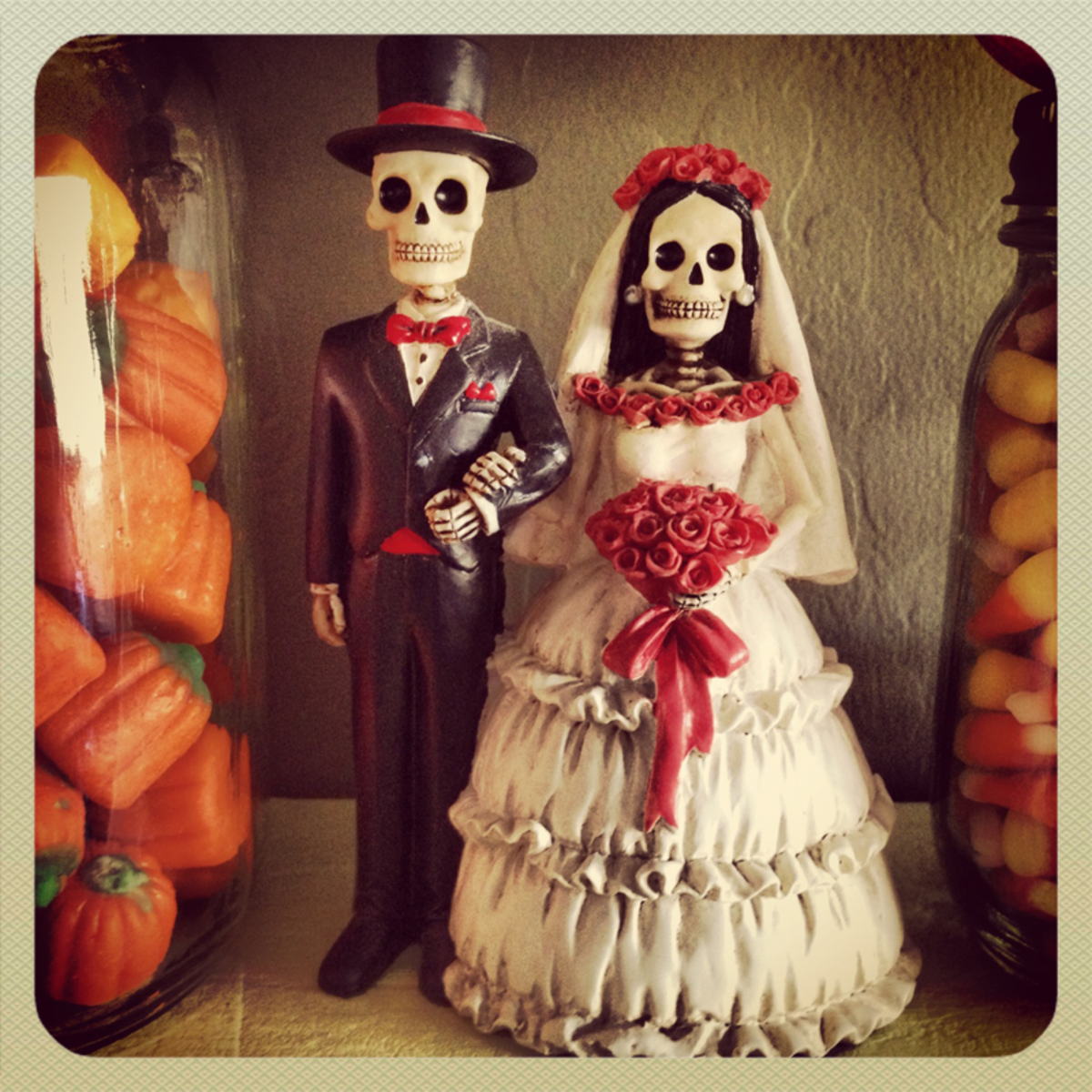 One of my favorite Day of the Dead decorations - A bride and groom figurine that was an engagement gift from my mother.