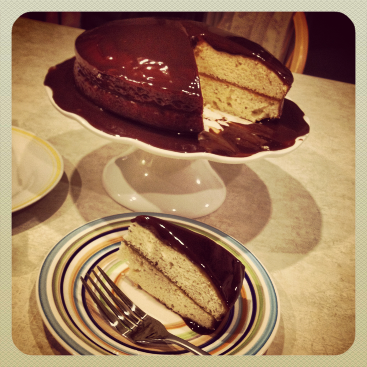 Old Fashioned Coffee Cake with Chocolate Icing Delishably