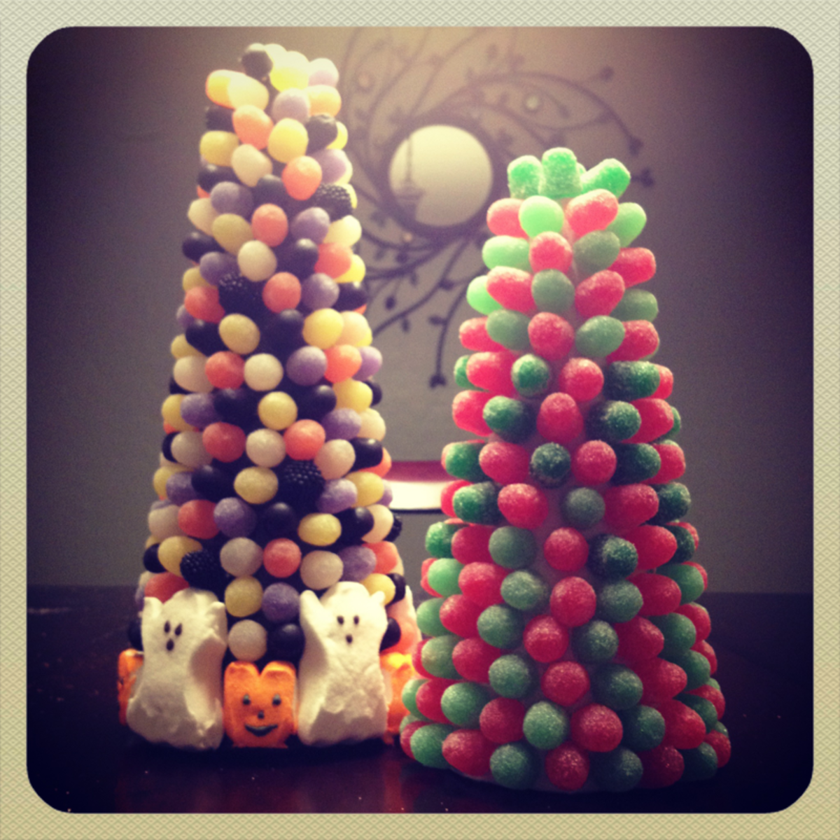 hand-crafted gumdrop trees for Halloween and Christmas