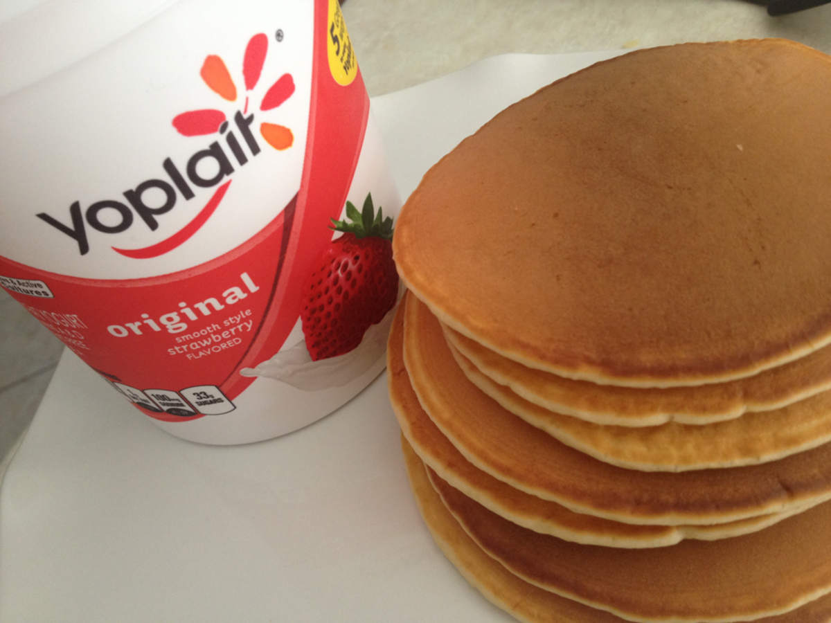 Breakfast Ideas - Yoplait Strawberry Yogurt Homemade Pancakes