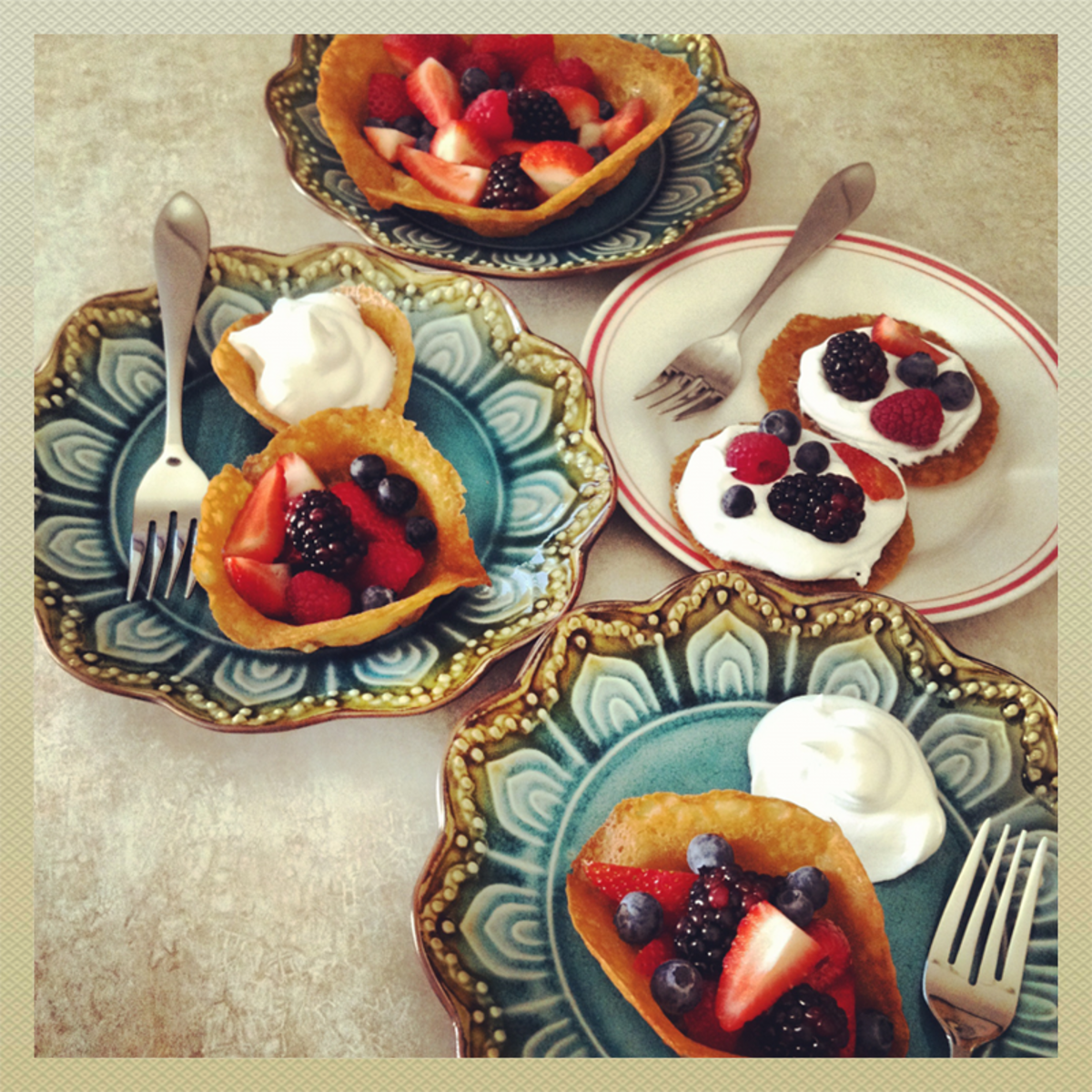 French lace cookie cups are a beautiful way to serve fruit.