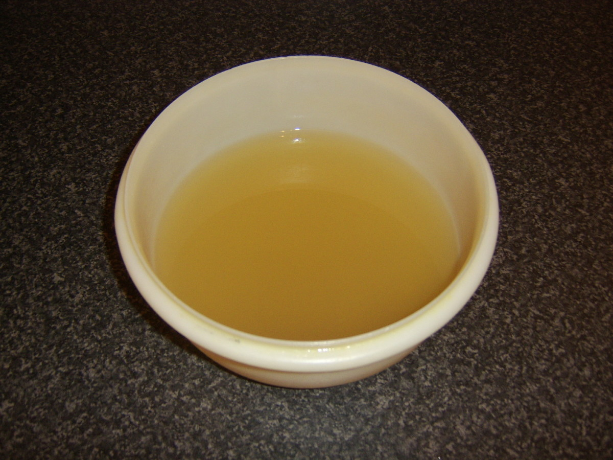 This delicious chicken broth was made with only a chicken carcass, water, herbs and seasoning