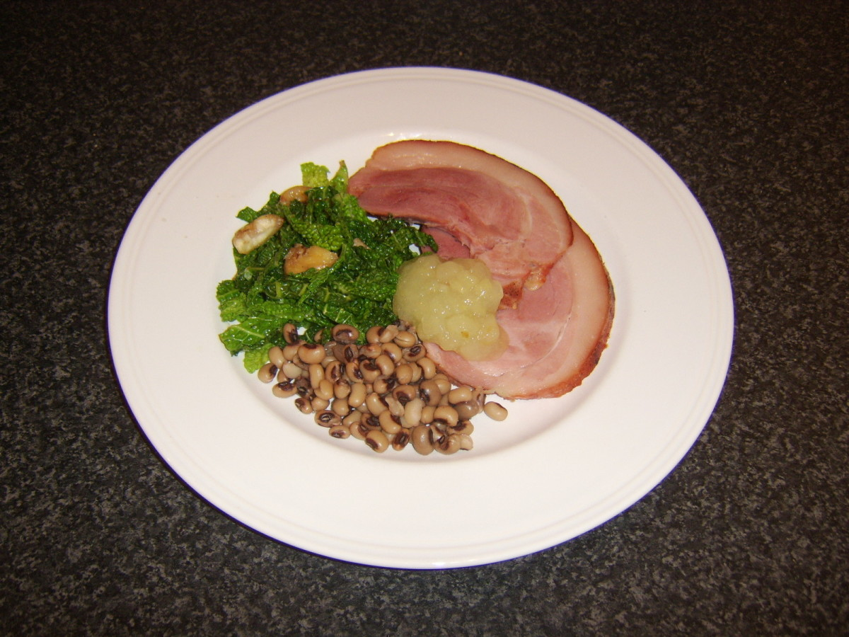 Ham, Savoy cabbage and black-eyed peas are all lucky New Year foods.