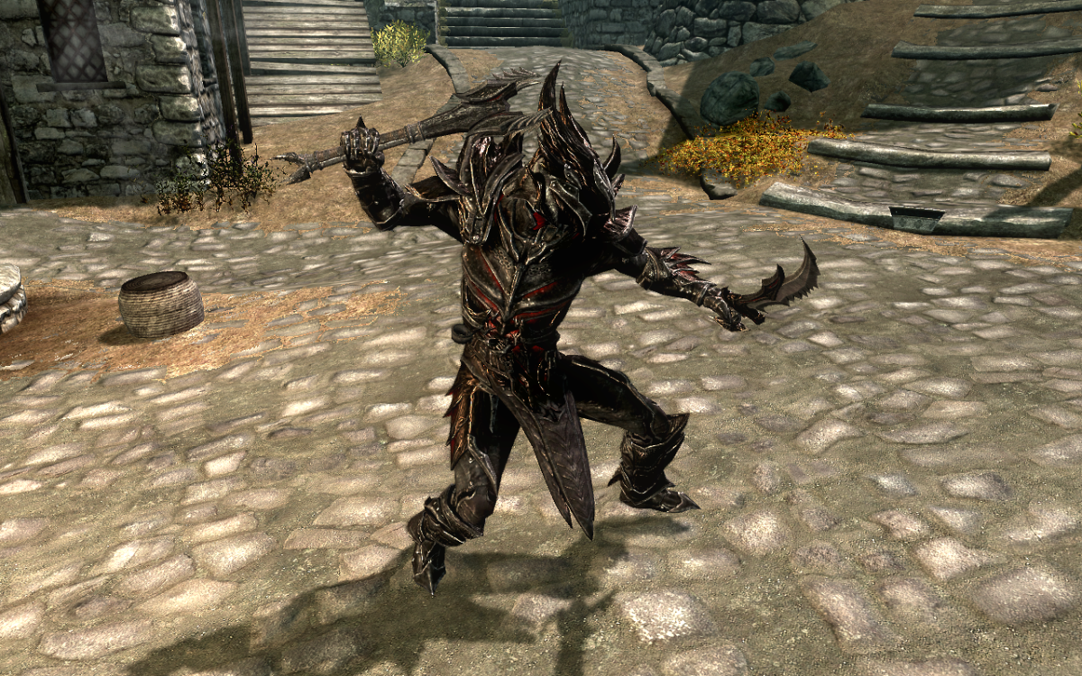 Dual wielding Daedric Weapons in The Elder Scrolls V: Skyrim.