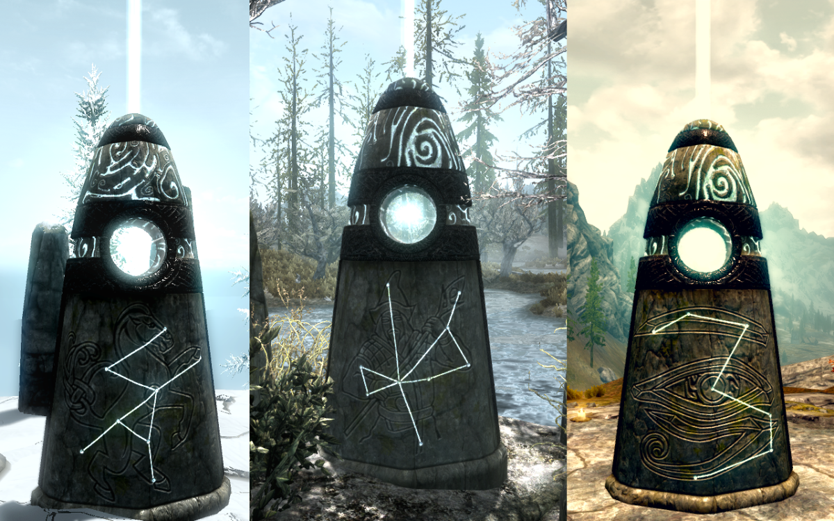 Activated Standing Stones granting their blessings to the character.