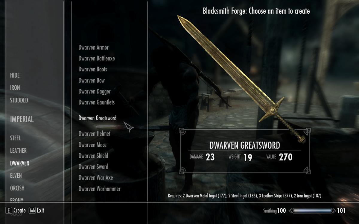 Crafting Dwarven Weapons in The Elder Scrolls V: Skyrim.