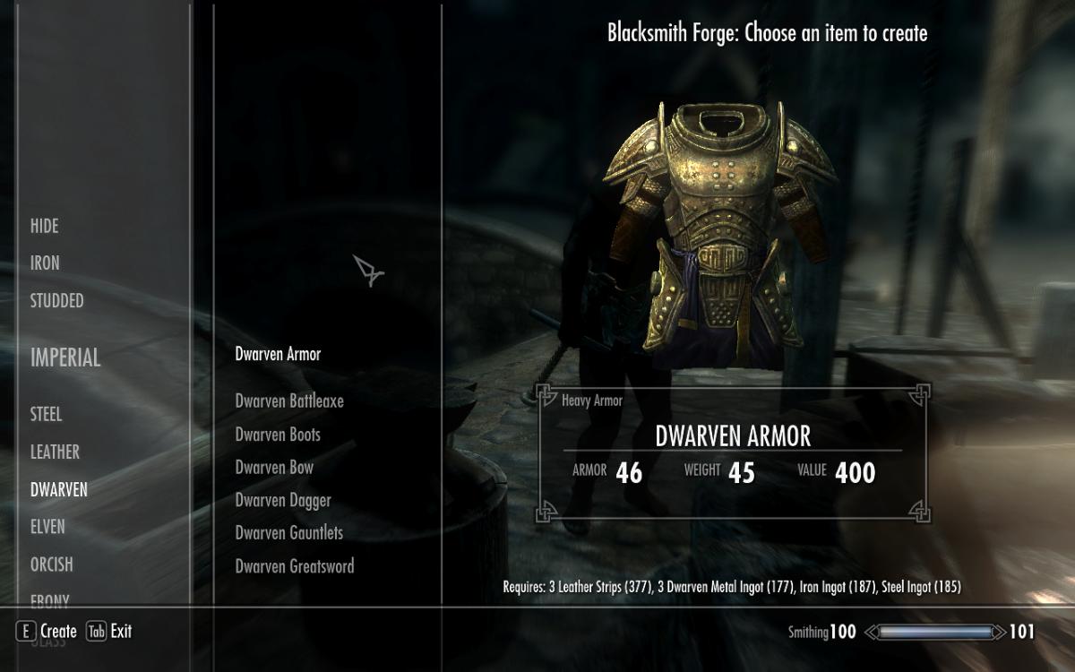 Smithing some Dwarven Armor in The Elder Scrolls v: Skyrim.